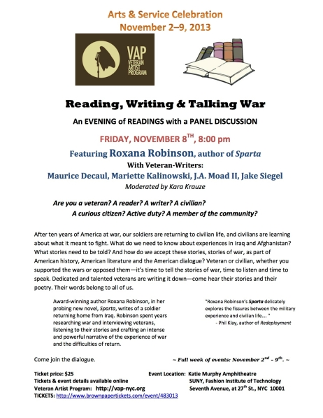 Flyer__READING_WRITING_and_TALKING_WAR_Nov_8_2013 _pic