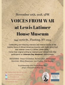 Voices From War at Lewis Latimer House Museum