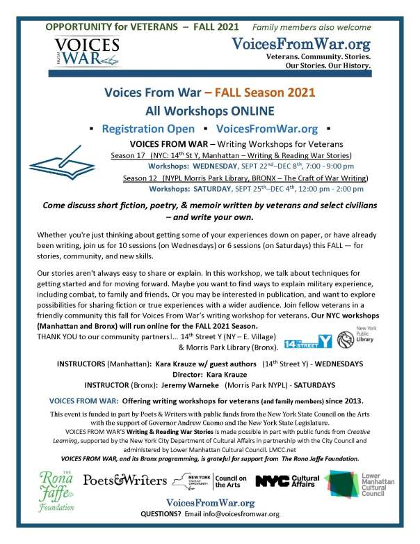 FLYER - ALL Online - VOICES FROM WAR__FALL_2021